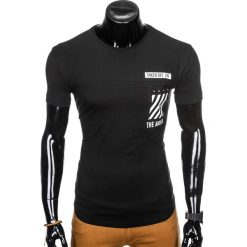 T-SHIRT MĘSKI Z NADRUKIEM S969 - CZARNY. Czarne t-shirty męskie z nadrukiem marki Ombre Clothing, m, z bawełny, z kapturem. Za 29,00 zł.