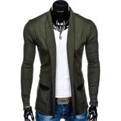 SWETER MĘSKI NARZUTKA E114 - KHAKI. Brązowe swetry klasyczne męskie marki Inny, m, z bawełny. Za 49,00 zł.