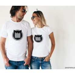 Koszulki dla par - kotuń i kotuś. Szare t-shirty damskie Pakamera, m, z napisami. Za 109,00 zł.