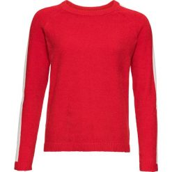 Swetry klasyczne damskie: Sweter z szenilii bonprix truskawkowo-biały