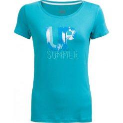 T-shirt damski  TSD611 - mięta - Outhorn. Niebieskie t-shirty damskie Outhorn, z nadrukiem, z elastanu. W wyprzedaży za 24,99 zł.