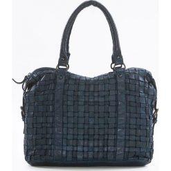 Torebki klasyczne damskie: Skórzana torebka w kolorze niebieskim – 33 x 27 x 13 cm