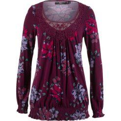 Tunika shirtowa, długi rękaw bonprix czarny bez z nadrukiem. Fioletowe tuniki damskie z długim rękawem bonprix, z nadrukiem. Za 74,99 zł.
