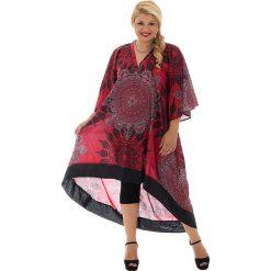 Odzież damska: Sukienka w kolorze szaro-czarno-czerwonym