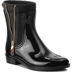 Kalosze TOMMY HILFIGER - Material Mix Rain Bo FW0FW03562 Black 990. Czarne buty zimowe damskie TOMMY HILFIGER, z materiału. W wyprzedaży za 359,00 zł.