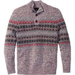 Swetry męskie: Sweter z plisą guzikową Regular Fit bonprix czerwony klonowy