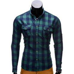 Koszule męskie: KOSZULA MĘSKA W KRATĘ Z DŁUGIM RĘKAWEM K312 – ZIELONA