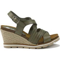 Rzymianki damskie: Skórzane sandały w kolorze khaki