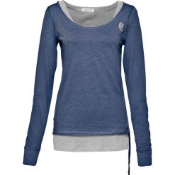 Shirt + top (2 części) bonprix indygo-jasnoszary melanż. Niebieskie topy damskie bonprix, melanż, z okrągłym kołnierzem. Za 59,99 zł.