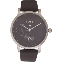 Zegarek kwarcowy w kolorze czarno-srebrnym. Czarne, analogowe zegarki męskie marki HUGO BOSS, ze stali. W wyprzedaży za 869,95 zł.