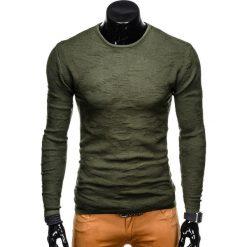 SWETER MĘSKI E115 - KHAKI. Brązowe swetry klasyczne męskie marki Inny, m, z bawełny. Za 49,00 zł.
