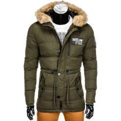 KURTKA MĘSKA ZIMOWA PARKA C308 - OLIWKOWA. Zielone kurtki męskie bomber Ombre Clothing, na zimę, m, z futra. Za 99,00 zł.