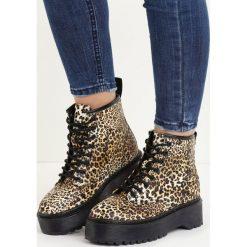 Panterkowe Botki Wild Fantasia. Szare buty zimowe damskie marki Born2be, z materiału, z okrągłym noskiem, na obcasie, na sznurówki. Za 99,99 zł.