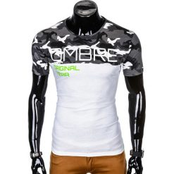T-SHIRT MĘSKI Z NADRUKIEM S1003 - SZARY/MORO. Zielone t-shirty męskie z nadrukiem marki Ombre Clothing, na zimę, m, z bawełny, z kapturem. Za 35,00 zł.