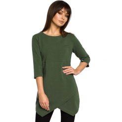 Zielona Tunika z Dołem na Zakładkę. Zielone tuniki damskie eleganckie Molly.pl, l, z bawełny, z kopertowym dekoltem, z długim rękawem. Za 124,90 zł.