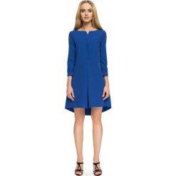 NADIA Asymetryczna sukienka z zakładką - chabrowa. Niebieskie sukienki asymetryczne marki numoco, na imprezę, s, w kwiaty, z jeansu, sportowe. Za 159,90 zł.