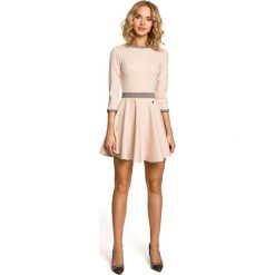 JENNIFER Elegancka rozkloszowana sukienka z koła - beżowa. Brązowe sukienki balowe Moe, na imprezę, dopasowane. Za 129,99 zł.