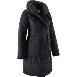 Krótki płaszcz pikowany ciążowy bonprix czarny. Niebieskie kurtki ciążowe marki bonprix, z materiału, z dekoltem w serek. Za 249,99 zł.