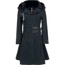Poizen Industries Tears Coat Płaszcz damski czarny. Czarne płaszcze damskie pastelowe Poizen Industries, xl, z aplikacjami, z polaru. Za 569,90 zł.