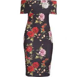 Sukienki: Missguided BARDOT BODYCON MIDI DRESS WITH CUT OUT BACK FLORAL Sukienka etui black