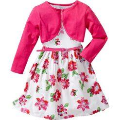 Sukienki dziewczęce: Sukienka + pasek + bolerko (3 części) bonprix biały w kwiaty