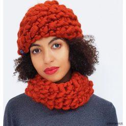 Czapki zimowe damskie: Komplet miedziana czapka i komin z wełny merino