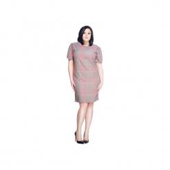 Luźna sukienka w kratkę SL2168 SIZE PLUS. Czarne sukienki mini marki Soleil, na imprezę, s, w kolorowe wzory, z bawełny, z długim rękawem, dopasowane. Za 129,00 zł.