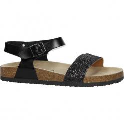 Czarne sandały z ozdobnym brokatowym paskiem ze skórzaną wkładką na korkowej podeszwie Casu B18X4/B. Czerwone sandały damskie marki Melissa, z kauczuku. Za 39,99 zł.