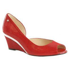 Buty ślubne damskie: Skórzane czółenka w kolorze czerwonym