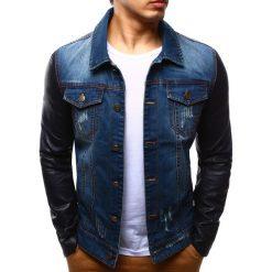 Kurtki męskie bomber: Kurtka męska jeansowa niebieska (tx1242)