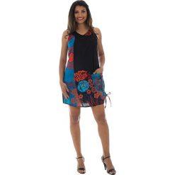 Odzież damska: Sukienka w kolorze czarno-turkusowo-czerwonym