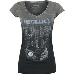 Metallica Ouija Guitar Koszulka damska czarny/szary. Czarne bluzki asymetryczne Metallica, m, z nadrukiem, z okrągłym kołnierzem, z krótkim rękawem. Za 114,90 zł.