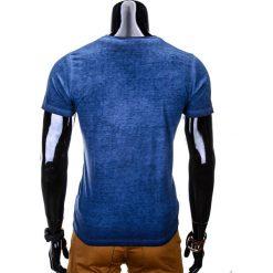 T-shirty męskie: T-SHIRT MĘSKI Z NADRUKIEM S672 – GRANATOWY