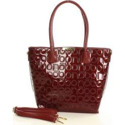 NOBO Logowana torebka shopper bag bordo. Brązowe shopper bag damskie marki Nobo, w paski, ze skóry ekologicznej. Za 159,00 zł.