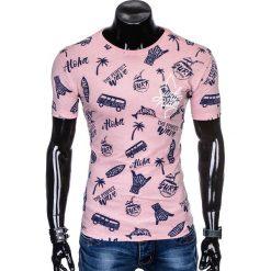 T-SHIRT MĘSKI Z NADRUKIEM S974 - PUDROWY RÓŻ. Szare t-shirty męskie z nadrukiem marki Lacoste, z gumy, na sznurówki, thinsulate. Za 19,99 zł.