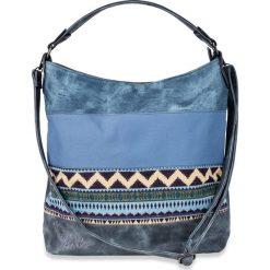 Torba shopper w stylu etno z denimu bonprix niebieski dżins. Niebieskie shopper bag damskie bonprix, z denimu. Za 149,99 zł.