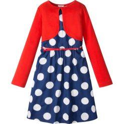 Sukienki dziewczęce z falbanami: Sukienka + pasek + bolerko (3 części) bonprix niebiesko-biały w kropki – czerwony