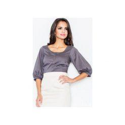 Koszula M029 Szary. Szare koszule damskie marki FIGL, m, z bawełny, eleganckie, z asymetrycznym kołnierzem, z długim rękawem. Za 77,00 zł.