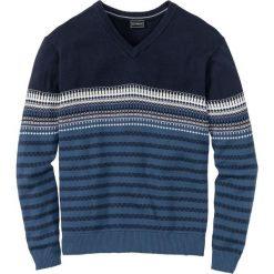 Sweter w graficzny wzór, z dekoltem w serek, Regular Fit bonprix jasny indygo - ciemnoniebieski. Czarne swetry klasyczne męskie marki Reserved, l, z dekoltem w serek. Za 74,99 zł.