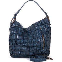 Torebki klasyczne damskie: Skórzana torebka w kolorze niebieskim – 26 x 27 x 17 cm