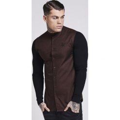 Koszule męskie na spinki: SIKSILK CONTRAST SLEEVE GRANDAD COLLAR Koszula brown/black
