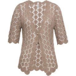 Sweter rozpinany szydełkowy bonprix brunatny. Brązowe kardigany damskie bonprix, na lato. Za 99,99 zł.
