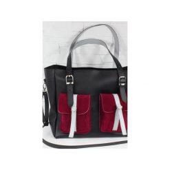 Skórzana Shopper II Pockets black Saffiano. Czarne shopper bag damskie Fabiola, w paski, ze skóry, duże. Za 288,00 zł.