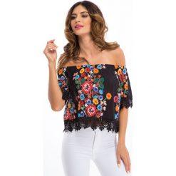 Czarna bluzka w kwiaty TA8459. Czarne bluzki asymetryczne Fasardi, l, w kwiaty. Za 47,20 zł.
