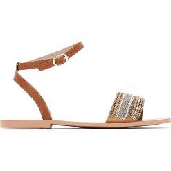 Rzymianki damskie: Skórzane sandały z paskami i perłami