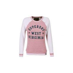 Bluzy Superdry  ARIA REVERSED CREW. Szare bluzy damskie marki Superdry, l, z nadrukiem, z bawełny, z okrągłym kołnierzem. Za 309,00 zł.