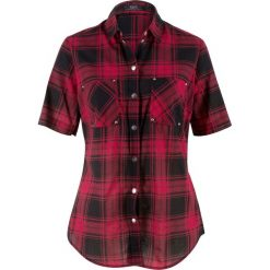 Bluzki damskie: Bluzka, krótki rękaw bonprix czerwono-czarny w kratę