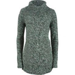Sweter poncho, długi rękaw bonprix głęboki zielony melanż. Zielone swetry klasyczne damskie bonprix. Za 89,99 zł.