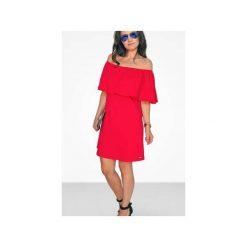 Sukienki hiszpanki: CZERWONA SUKIENKA Z ODKYTYMI RAMONAMI