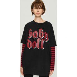 Bluza z długimi rękawami - Czarny. Czarne bluzy rozpinane damskie Sinsay, l, z długim rękawem, długie. Za 59,99 zł.